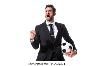 yelling businessman in formal wear with soccer ball and clenched hand Isolated On White