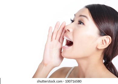 Yelling woman mouth close up isolated on white background, model is a asian beauty