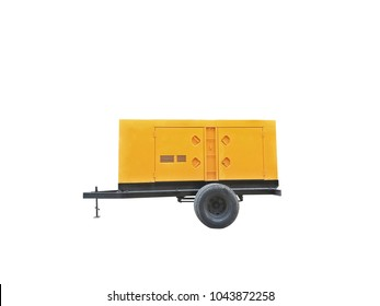 Yelllow Electric Generator with wheel on white