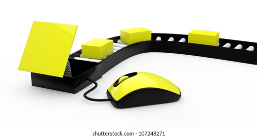 Yellow 3d mouse with three postal boxes