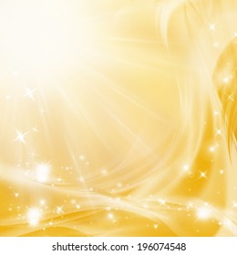 Yellow abstract background with sun and stars