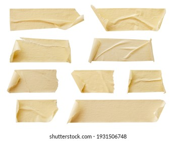 Yellow adhesive paper tape isolated on white background
