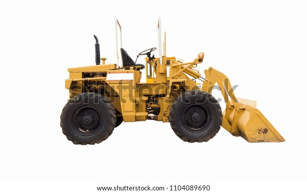 Yellow agricultural tractor isolated on white background With clipping path