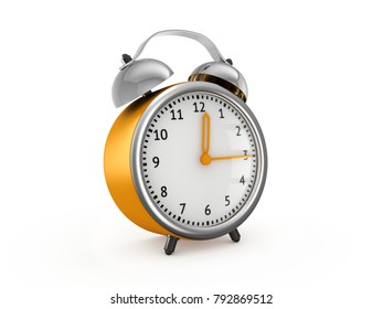 Yellow alarm clock show 12 hours and 15 minutes. 3d rendering isolated on white background