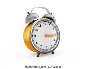 Yellow alarm clock show 3 hours and 15 minutes. 3d rendering isolated on white background