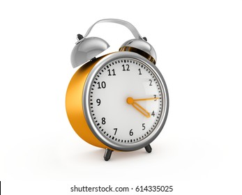 Yellow alarm clock show 4 hours and 15 minutes. 3d rendering isolated on white background