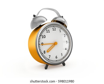 Yellow alarm clock show 7 hours and 45 minutes. 3d rendering isolated on white background