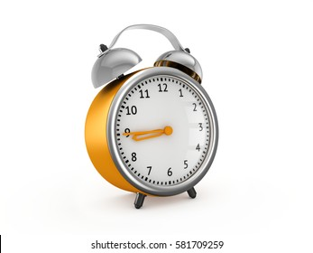 Yellow alarm clock show 8 hours and 45 minutes. 3d rendering isolated on white background