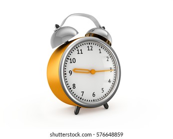 Yellow alarm clock show 9 hours and 15 minutes. 3d rendering isolated on white background