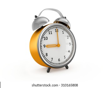 Yellow alarm clock showing nine o'clock. 3d render isolated on white background