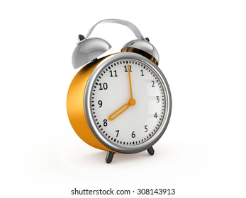 Yellow alarm clock shows eight hours. 3d render isolated on white background