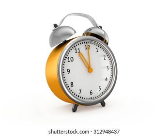 Yellow alarm clock shows eleven o'clock. 3d render isolated on white background