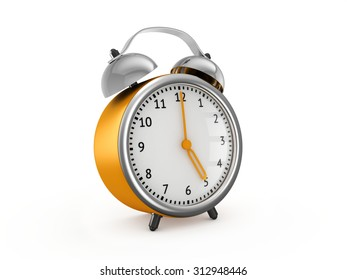 Yellow alarm clock shows five hours. 3d render isolated on white background