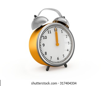 Yellow alarm clock shows twelve o'clock. 3d render isolated on white background