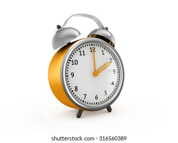 Yellow alarm clock shows two hours. 3d render isolated on white background