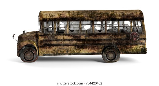 Yellow American ruined school bus left view isolated on white background. 3D Rendering, Illustration.
