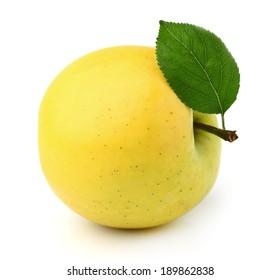 Yellow apple wit leaf