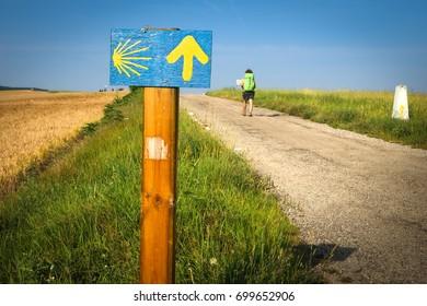 Yellow arrow on the Camino of Santiago