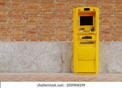 Yellow ATM Machine Standing on Red Brick Wall, Business,  Monetary Operations Concept
