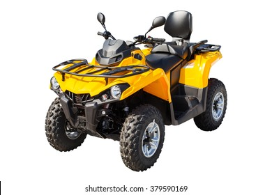 Yellow ATV quadbike isolated on white background with clipping path