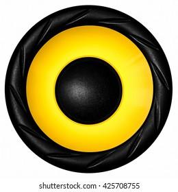 Yellow audio speaker isolated on white background