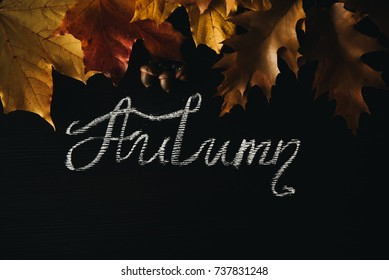 Yellow autumn leaves on black chalkboard background. the inscription with chalk. seasonal concept