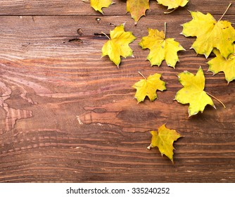 Yellow autumn leaves on brown grungy wooden background