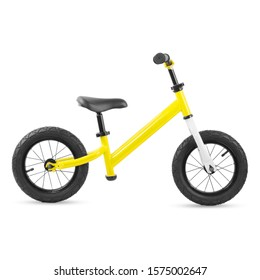 Yellow Baby Balance Bike Isolated on White. Children's 2 Wheeled Sliding Vehicle. Kids Bicycle with Adjustable Seat & Handlebar. Cycling Toddler Training Sport Bike. Infant Walker Scooter. Side View