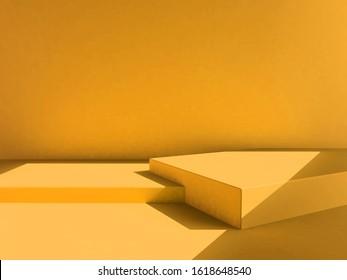 yellow background, yellow backdrop, scene, yellow color mood tone. 3d rendering wallpaper studio set - Shutterstock ID 1618648540