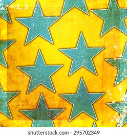 Yellow background with blue stars