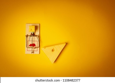 yellow background with a mousetrap and a large piece of tasty cheese