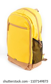 A yellow backpack isolated on white background.