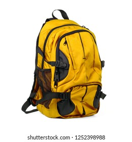 Yellow backpack isolated on white background. Children's school satchel, colored briefcase for teens
