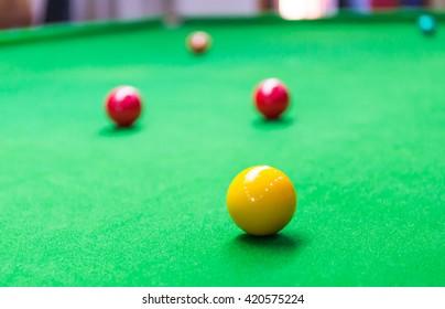 yellow ball on snooker table
