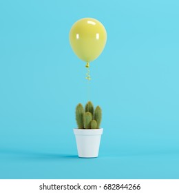 Yellow Balloon Floating with white flowerpot Cactus on blue background. minimal concept idea.