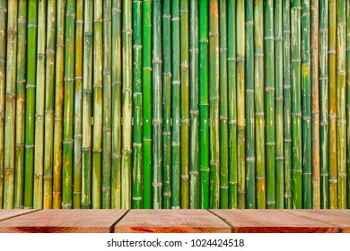 Yellow Bamboo Fence and Wooden floor