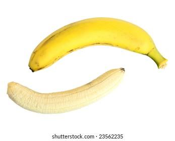 yellow banana against the white background