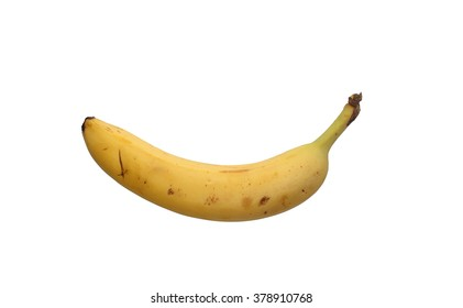 Yellow Banana with Bruises on White Background