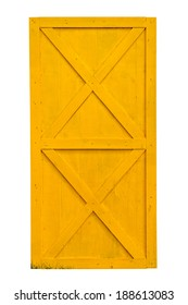 Yellow barn door isolated on white background