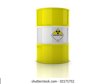 Yellow barrel with sign of radiation isolated on white background