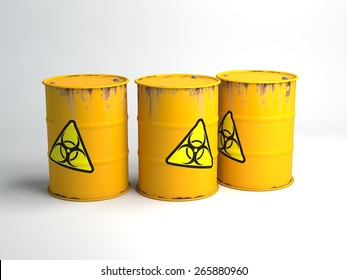 Yellow barrels with biohazard symbol