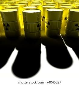yellow barrels with radioactive trash