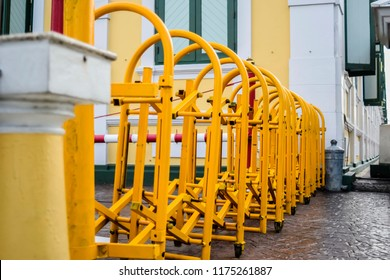 yellow Barricade iron on road in Thailand