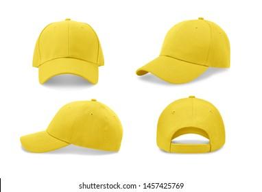 Gelbe Baseballkappe in vier verschiedenen Blickwinkeln. Geh nach oben.