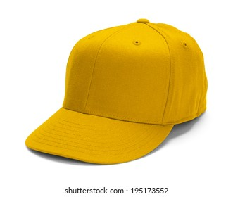 Yellow Baseball Hat With Copy Space Isolated on White Background.