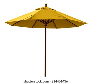 Yellow beach umbrella isolated on white. Clipping path included.