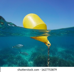 A yellow beacon buoy in the sea for beach marking and cross channel limits with blue sky and fish underwater, split view half over and under water surface, Mediterranean, Spain
