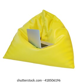 Yellow beanbag isolated on white background