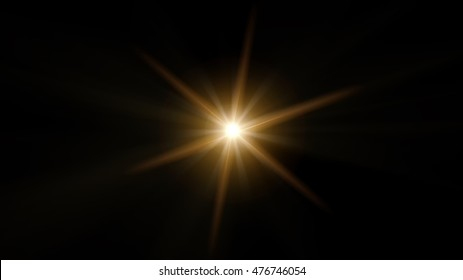 Yellow, beautiful, the lens effect with six rays on a black background.