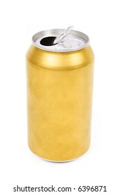 a yellow beer can with white background